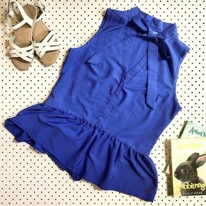 Girls size 14-16 TOMMY GIRL (Tommy Hilfiger) Blue Ruffle Peplum Top, tie up neck